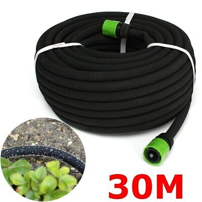 30M Garden Porous Soaker Hose Drip Irrigation Lawn Watering Plant Clusters • 14.59£