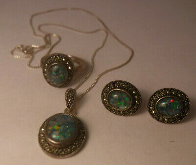 $85 • Buy Charles Winston Sterling Silver Opal & Marcasite Ring, Necklace & Earrings Set*