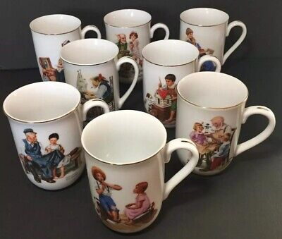 $ CDN13.80 • Buy Vintage 1982 Norman Rockwell Coffee Cups Mugs Set Of 8 Museum Collection. Used