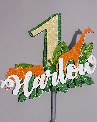 £6.29 • Buy Personalised Jungle Animal Cake Topper Decoration, Any Colour, Name, Age