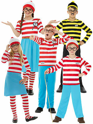 £25.88 • Buy Childs Where's Wally Costume Girls Wenda Fancy Dress Boys Book Day Outfit Kids