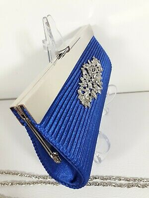 £7.99 • Buy Claudia Canova Clutch Bag With Detachable Chain Embellished Blue