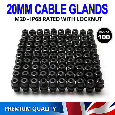 £23.89 • Buy 100x 20mm Black Waterproof IP68 Compression TRS Cable Stuffing Gland Locknut M20