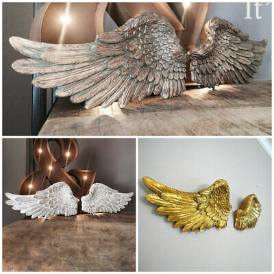 Pair Of Rustic Distressed Angel Wings Large Ornate Home Decor Wall Mount Hanging • 19.99£