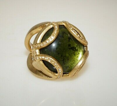 $ CDN15.68 • Buy Lia Sophia Green Glass Cabochon Gold Tone Cocktail Ring Size 11