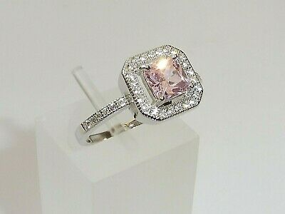 Hand Made Ladies 925 Sterling Silver Princess Cut Pink And White Sapphire Ring • 26.35£