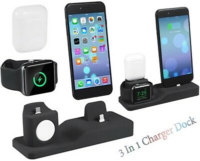 AU25.95 • Buy 3 In 1 Premium Silicone Charger Dock Station Holder For IPhone /AirPods /iWatch
