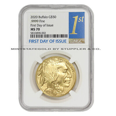 $2270.27 • Buy 2020 $50 Gold Buffalo NGC MS70 FDOI First Day Of Issue 1oz 24KT Bullion Coin