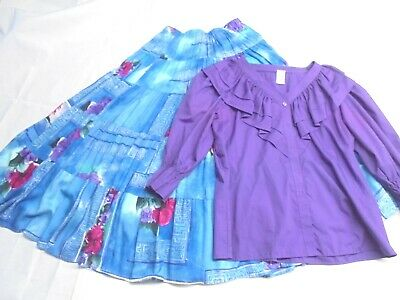 $24.99 • Buy Purple Top Skirt Floral Square Dance Outfit Round Dance Costume Longer Skirt