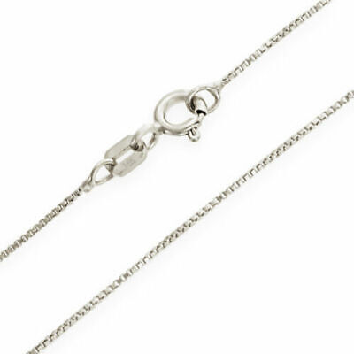 $53.58 • Buy 14K White Gold Solid Box Chain Necklace .5mm Wide 16 - 22  Spring Ring Clasp