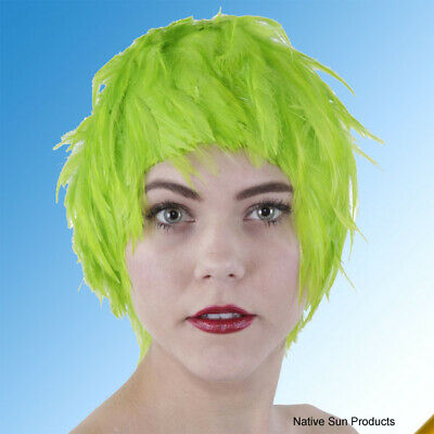 $17.95 • Buy Wig Rooster Hackle Feathers LIME GREEN  Halloween Costume Punk Retro New