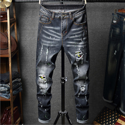 $29.73 • Buy Men Stretch Ripped Skinny Jeans Distressed Frayed Slim Fit Biker Pants Trousers