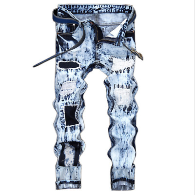 $30.68 • Buy US Mens Extreme Ripped Frayed Distressed Pants Denim Washed Jeans Straight Leg