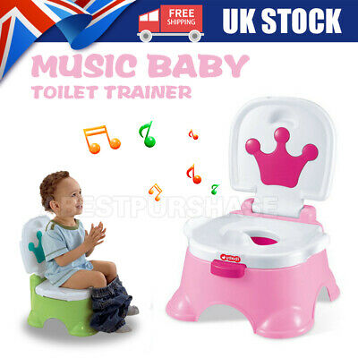 Baby Toddler Kids Training Potty 3 In 1 Toilet Portable Music Training Seat UK • 18.99£