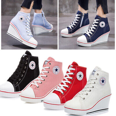 Plus Size Women High Top Canvas Shoes Wedge Heel Ankle Lace-Up Platform Sneakers • 18.99£