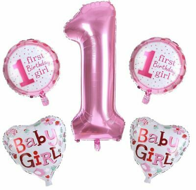AU11.25 • Buy Set Of 5 Girl's First 1st Birthday Foil Balloon Set Birthday Party Decoration