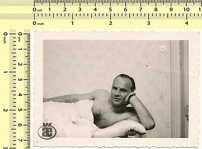 $ CDN22.60 • Buy 035 Handsome Shirtless Man W Hairy Chest Male In Bed Gay Interest Guy Old Photo