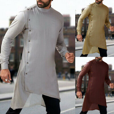 Men's Long Sleeve Formal Kaftan Loungwear Tunic T Shirt Tops Dress Shirt Blouse • 11.79£