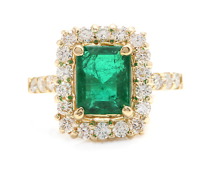 $2100 • Buy 4.10Ct Natural Emerald & Diamond 18K Solid Yellow Gold Ring