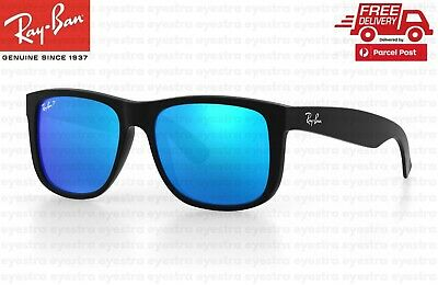 AU104.99 • Buy RayBan Justin Sunglasses Blue Mirror Polarised Lens RB4165 622/55 54mm Ray-Ban