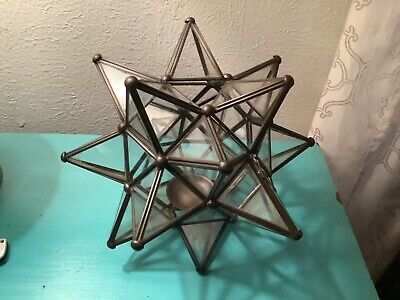 $75 • Buy Vtg Mid Century Glass Metal Moroccan STAR Tea Candle Holder Light Table Top