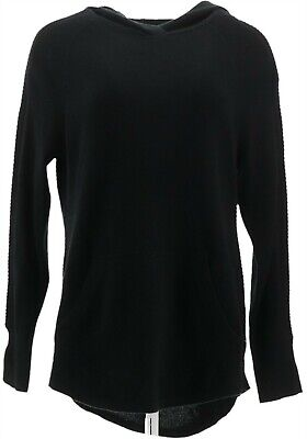 $95.98 • Buy Isaac Mizrahi 2-Ply Cashmere Pullover Hoodie Pocket Black S NEW A343872
