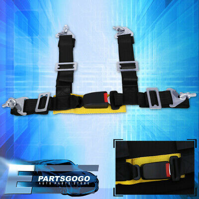 $ CDN33.83 • Buy 2  Black Yellow Tuning 4 Point Harness Racing Seat Belt Latch Buckle Strap Bolts