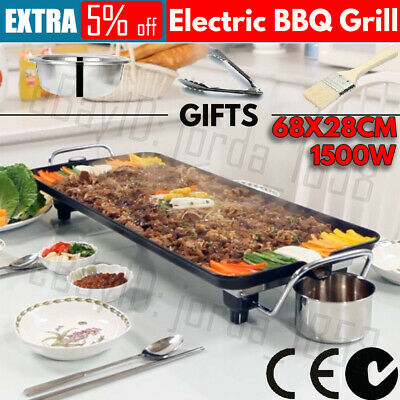 AU59.99 • Buy 1500W Electric BBQ Grill Teppanyaki Non-stick Hot Plate Griddle Smokeless Tray