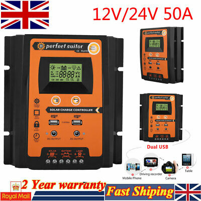 Solar Charge Controller Dual USB 50A MPPT 12/24V Solar Panel Battery Regulator • 27.38£