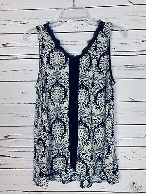 $ CDN31.11 • Buy Mystree Anthropologie Womens L Large Blue Lace Sleeveless Spring Top Tank Blouse