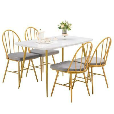 $108.99 • Buy 5 Piece Marble Dining Table Set 4 Chairs Kitchen Dining Room Breakfast Nook US
