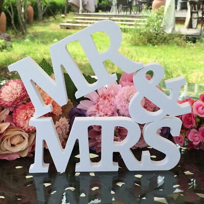 $13.38 • Buy Mr And Mrs Wedding Wooden Sign Wood Letters Decor Decoration Table Top Standing