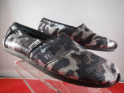 $14.99 • Buy FC12 Women's TOM'S Blue Gray Camo Sequin Sparkle Flats Slip On Loafer Sz 6
