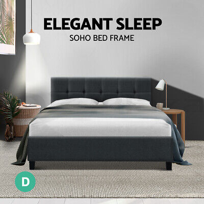 AU86.95 • Buy Bed Frame Double Size Base Mattress Platform Fabric Wooden Charcoal SOHO