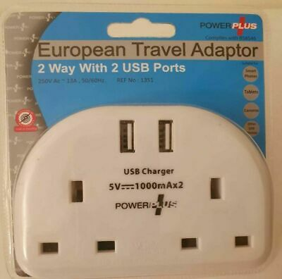 European Travel Adaptor (2pin Plug) With Single Wall Sockets With 2 X USB Ports • 6.99£