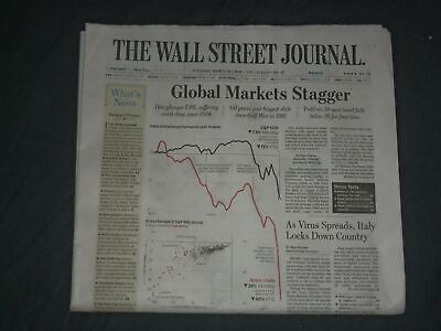 $21 • Buy 2020 March 10 The Wall Street Journal Newspaper - Global Markets Stagger