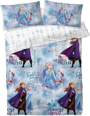 Disney Frozen 2 Double Duvet Quilt Cover Set Girls Blue Bed Elsa Bedroom • 21.95£
