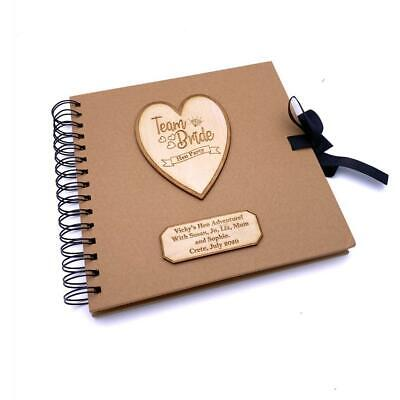 Personalised Team Bride Hen Party Scrapbook Photo Album With Wooden Engraving • 14.99£
