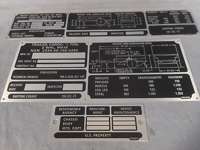 $35.95 • Buy M416/M569 Weight Dimension Operation Shipping Data Plate Set M151 M38 M715 M37