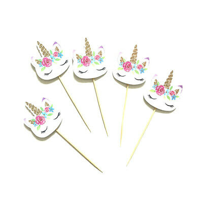 AU5.65 • Buy 24pc Flower Unicorn Cupcake Toppers Birthday Party Decoration