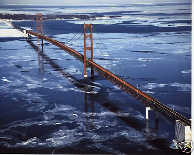 $8.99 • Buy The New Mackinac Bridge Color Aerial Photograph 1957 Over Ice Michigan MUST SEE