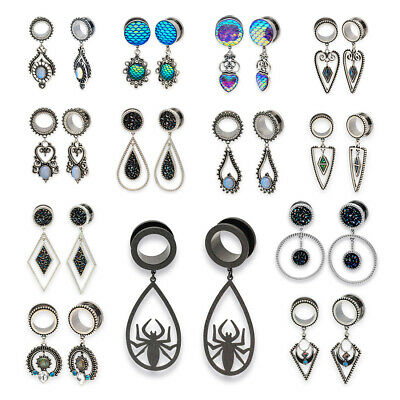 $11.99 • Buy Pair Of 316L Stainless Steel Plugs With Ornate Dangle Tunnels Dangling