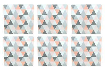 £9.99 • Buy Set Of 6 Placemats Geometric Design Pastel Pink Grey Cork Back Dinner Table Home