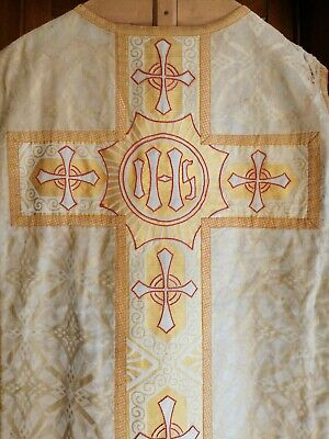 £90 • Buy Antique Church Christian Priest Damast Embroidered Brocade Vestment Chasuble