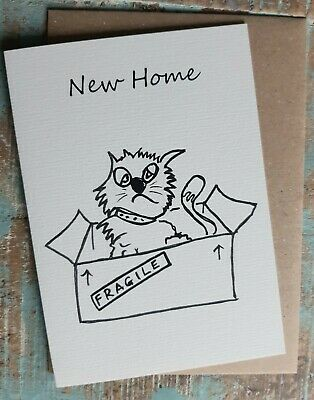Greetings Card New Home Webster  The Cat Cartoon Funny British Made Blank  • 2.95£