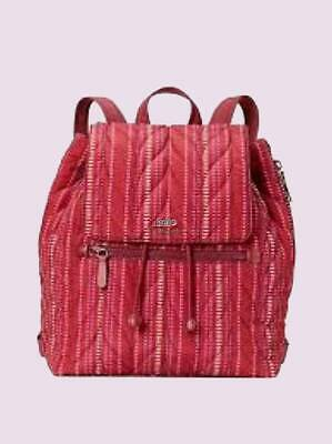 $ CDN246.50 • Buy Nwt Kate Spade $329 Ellie Quilted Large Drawstring Flap Backpack Cranberry Red