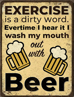 £22.71 • Buy Exercise Is A Dirty Word Drink Beer   Wall Decor, Bed, Bath