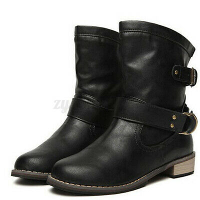 WOMENS WINTER BOOTS FUR LINED BIKER ARMY COMBAT FLAT GRIP SOLE SHOES 458 SIZE