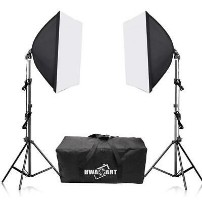Continuous Lighting Softbox Studio Kit Photography Light Stand Photo Video UK • 49.99£