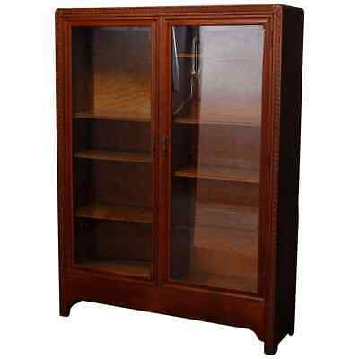 $1462.50 • Buy Antique Arts & Crafts Double Door Oak Bookcase With Stylized Carvings Circa 1910